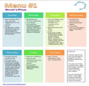 MamaNut Meal Planning that Works - Menu